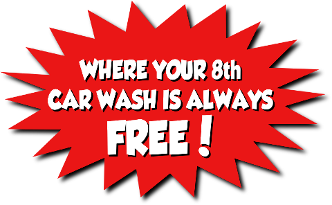 Your 8th car wash is always free!