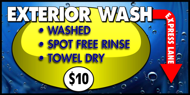Exterior Wash Package at $9.95