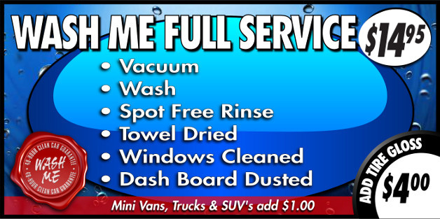Full Service Wash Package at $14.95